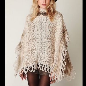 FREE PEOPLE Casablanca Cape Boho Poncho Wool Blend